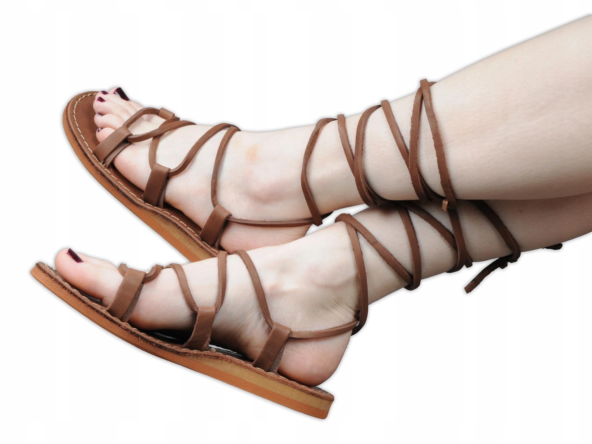 Rzymianki sandały skórzane rzymki Marka brąz nr 35