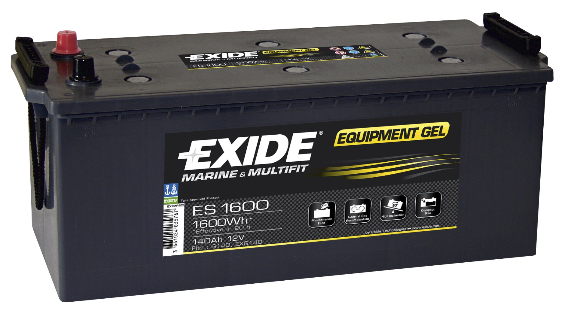 Batéria 140AH EXIDE GEL ES1600 V karavany,LODE