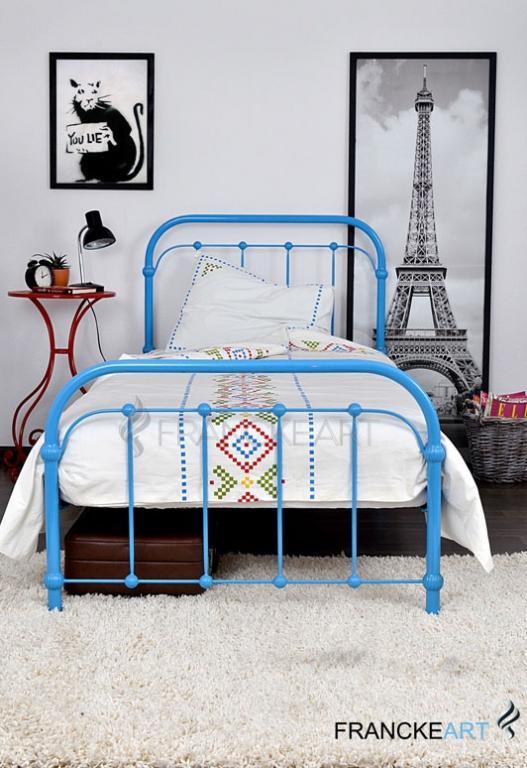 Kovové postele, kované Babička 120x200 modrá