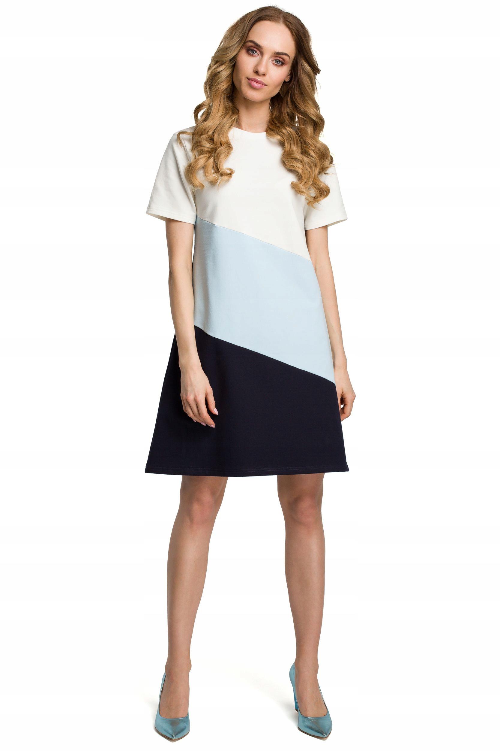M373 Sukienka mini 3 kolory - błękitna 38   M