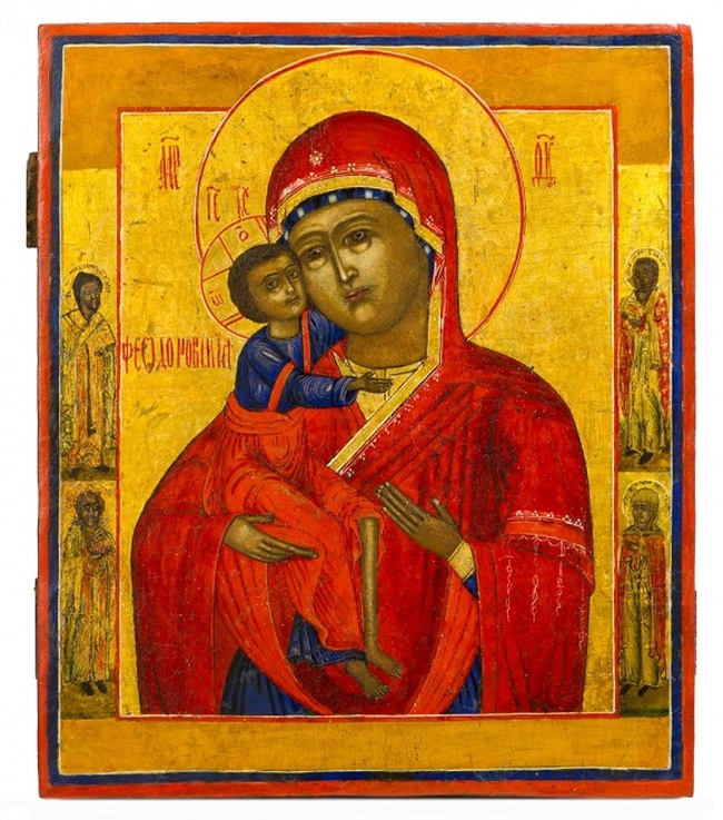 Ikona - Panna Mária Fyodorowska, Rusko, polovica XIX W