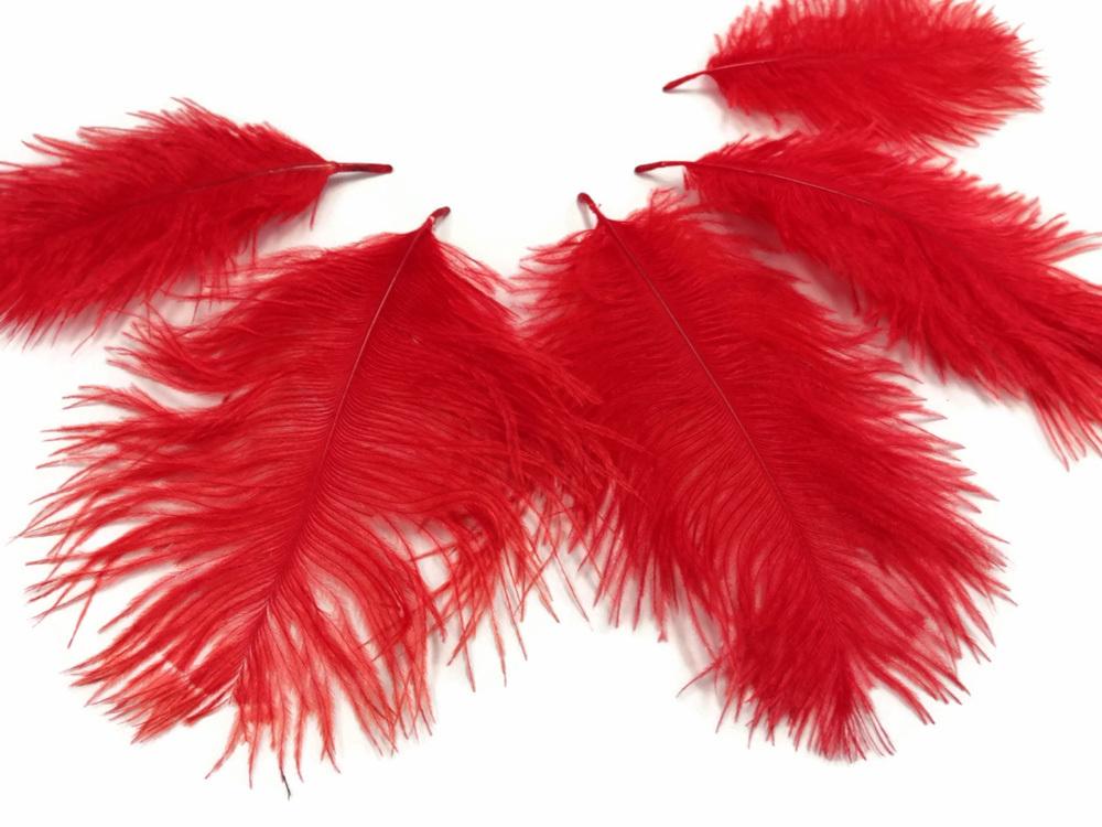 Натуральные бордовые перья для украшения