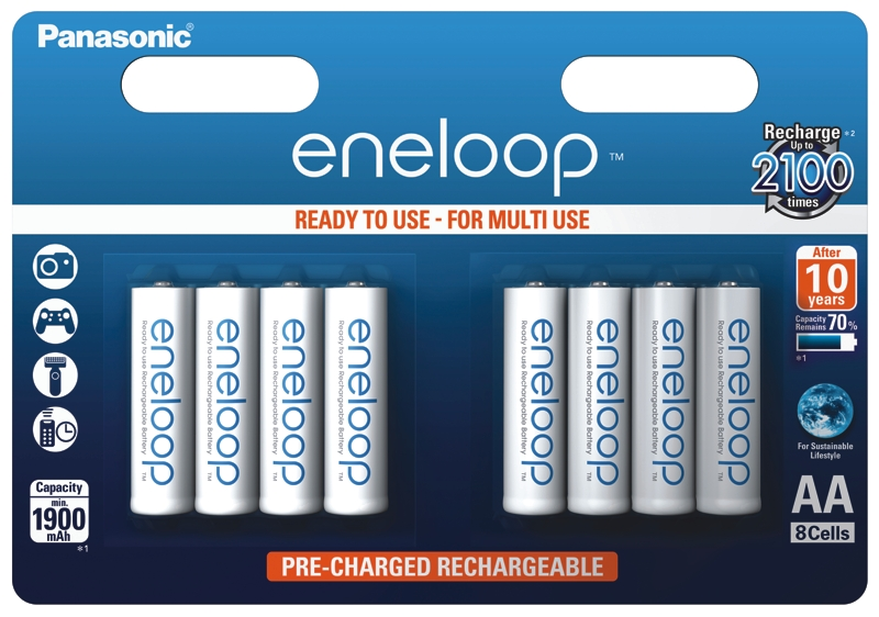 Item 8X PANASONIC ENELOOP rechargeable BATTERIES R6/AA 8BL JAPAN
