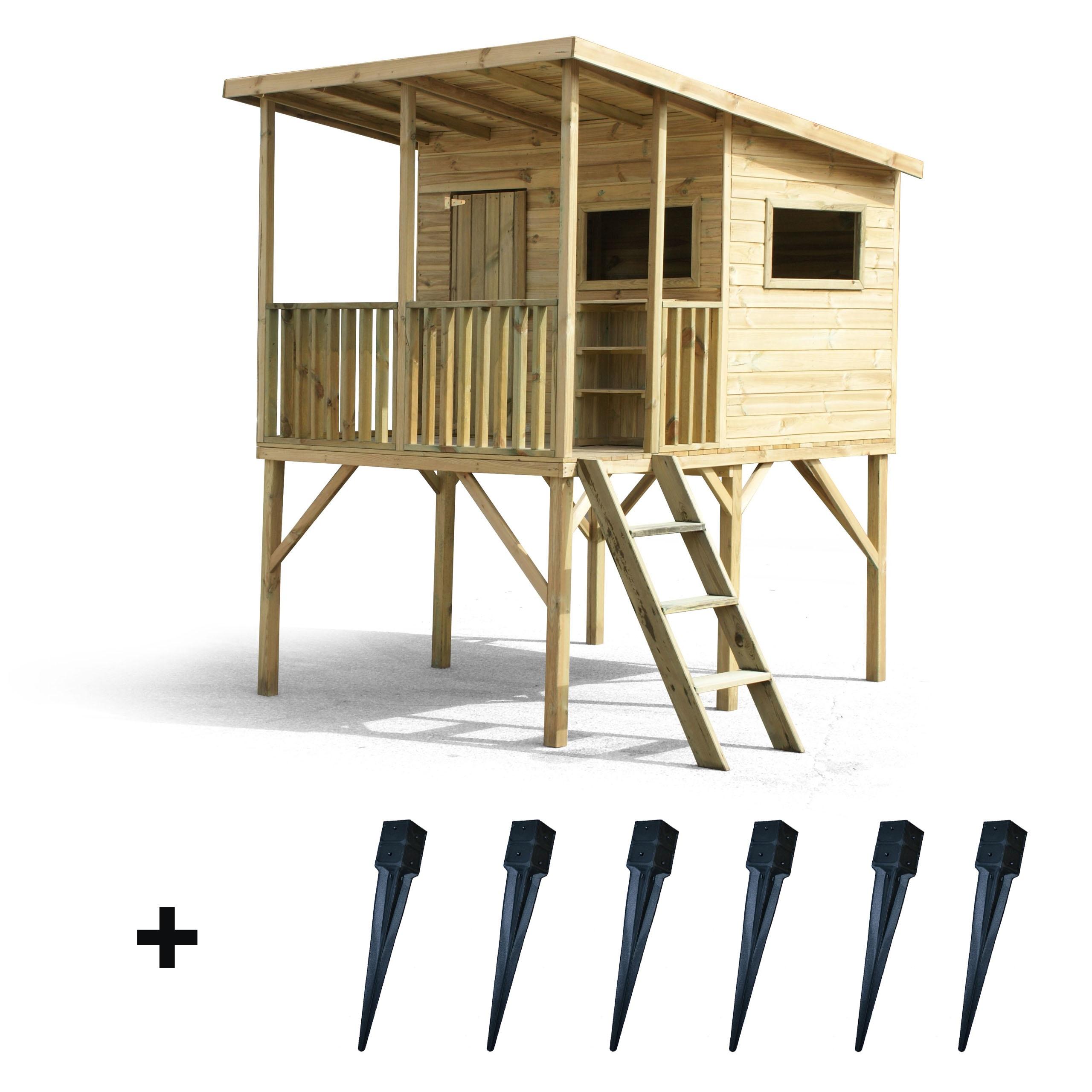 Drevený záhradný dom pre deti Robinson + kotvy