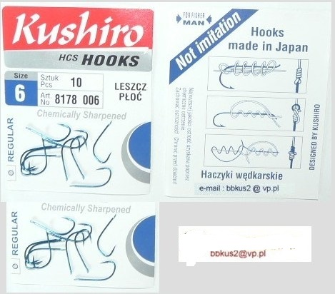 Kushiro vyrobené v Japonsku 20ks Roach Bream Hook 6