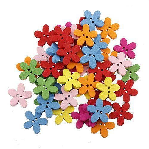 Krásne drevené farebné kvety 15ks veľkonočné
