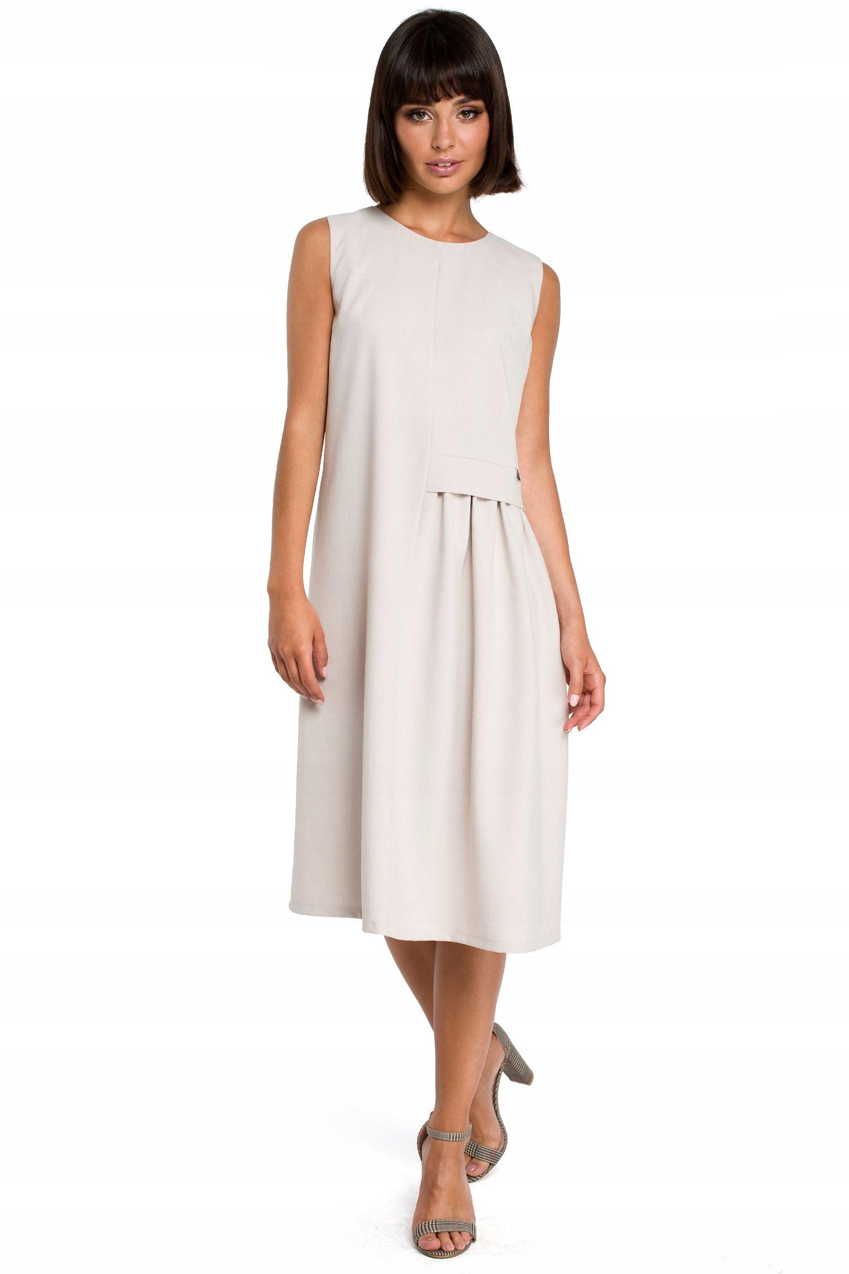 B080 Zwiewna sukienka midi bez rękawów - beżowa 36