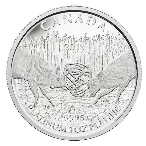Kanada 2015 - 300 $ Bojový jeleň - 1oz. Platina