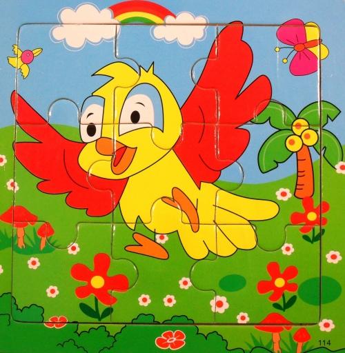 Vzdelávacie drevené puzzle 9 el vták