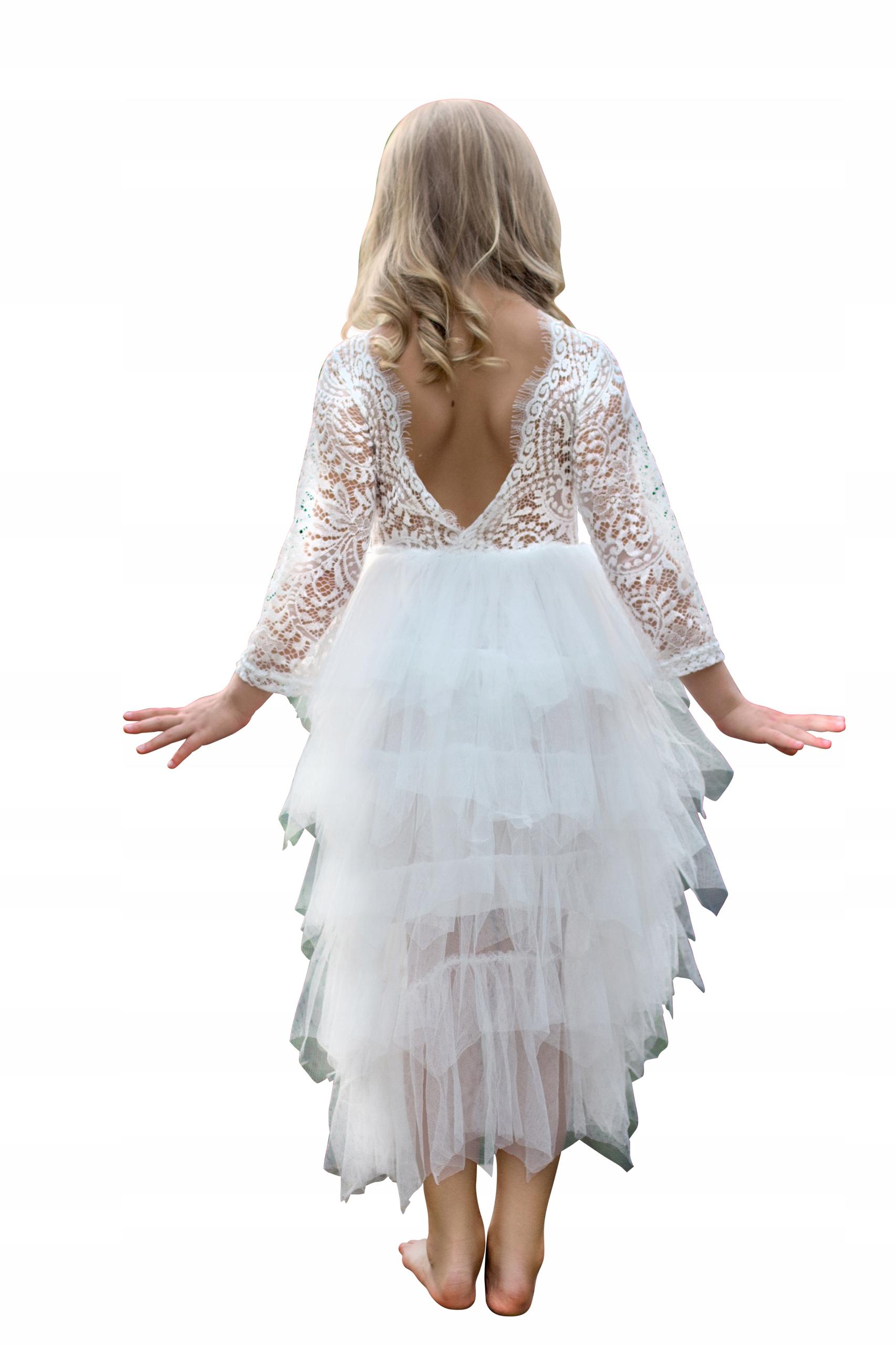 52f8f27209 Sukienka Koronkowa Księżniczka Gołe Plecy Biała110 7517768359 - Allegro.pl