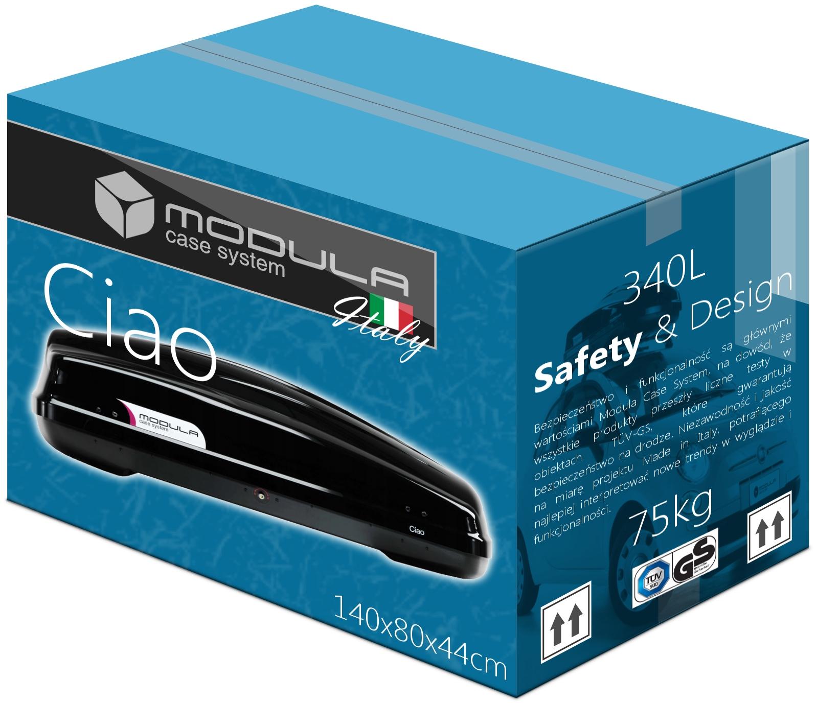 Коробка на крышу BOX MODULA Ciao 340L 140x80x44 см