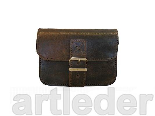 retro kožená taška na opasok POLSKÝ VÝROBCA