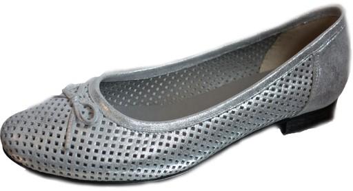 Skórzane Baletki srebro na szeroką stopę haluks 42