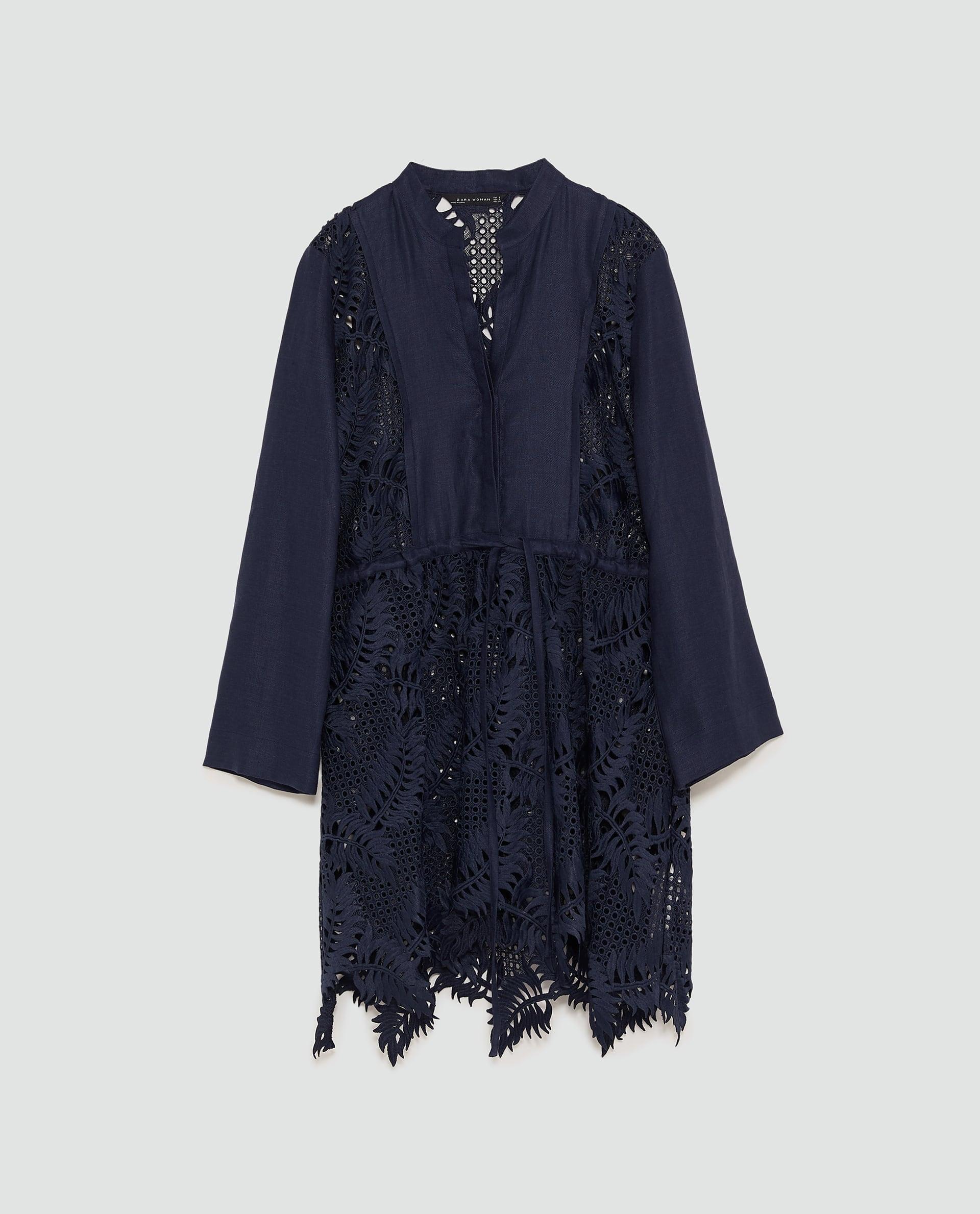 sukienka granatowa gipiura zara