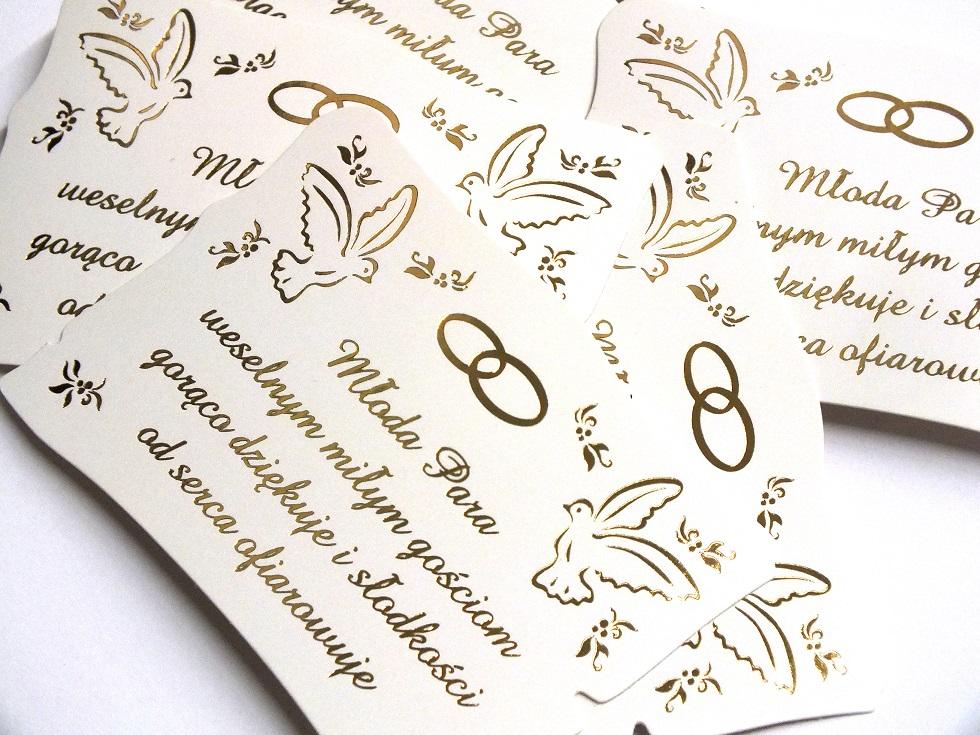 5 X Etykieta Karteczka Na Kolacz Ciasto Weselne 7311807472 Allegro Pl
