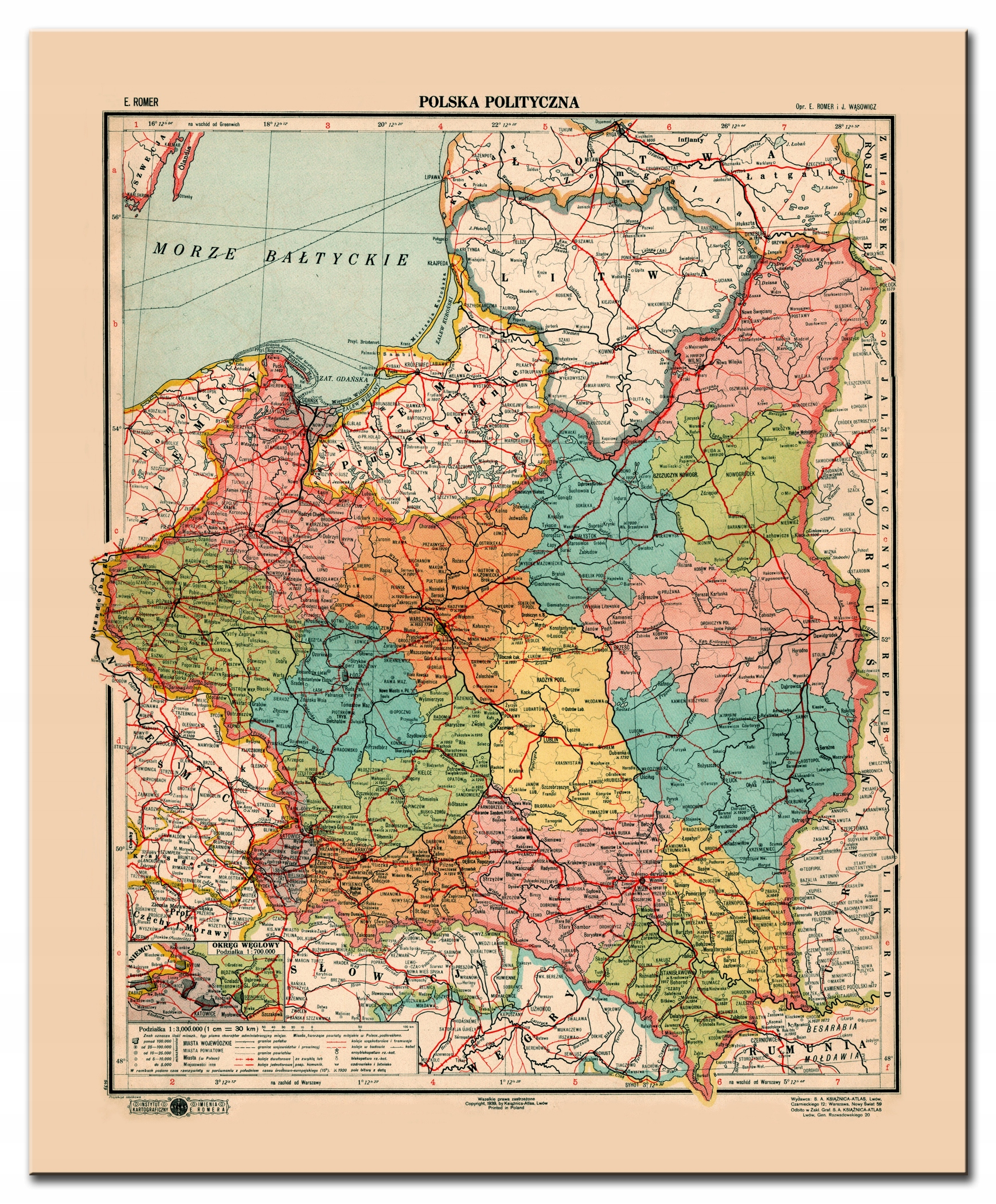 Item POLAND II RP SPECTACULAR MAP of LVIV 1939 SOLID