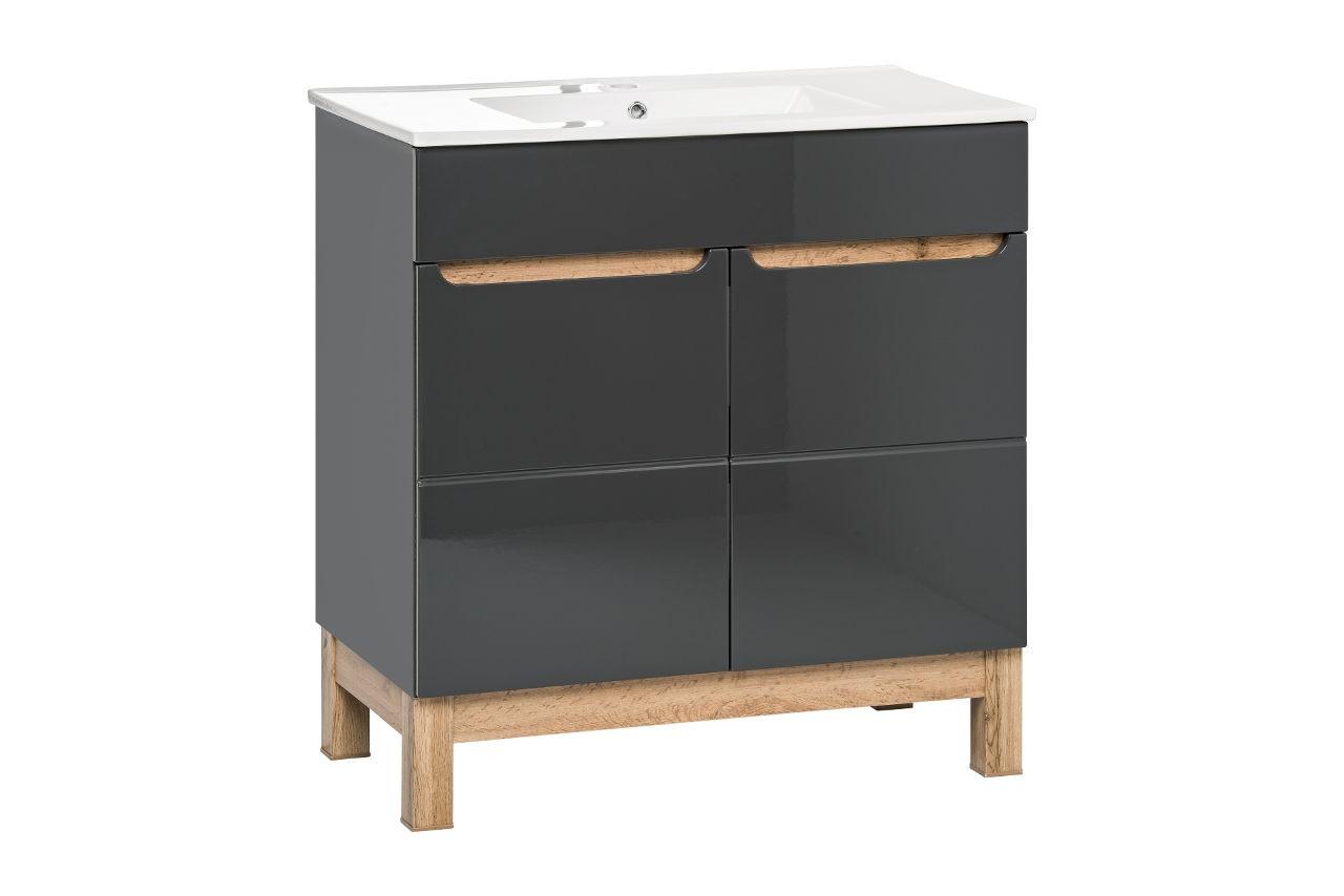 Kabinet Bali dub / šedá, s umývadlom, Retro-60 cm