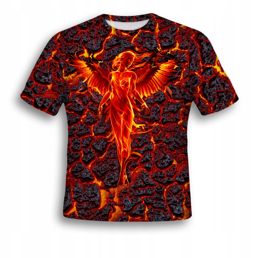 KOSZULKA 3D T-shirt FIRE ANGEL XL MODNA ORGINALNA