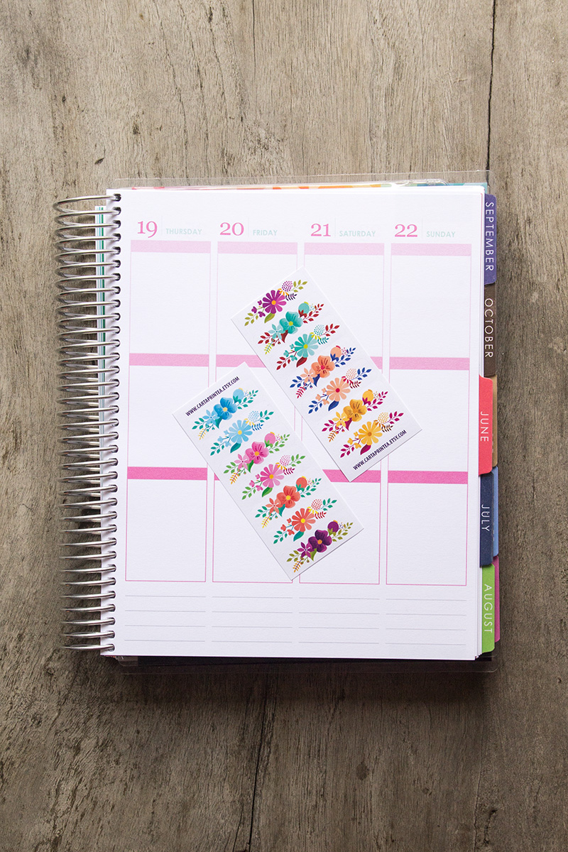 Naklejki KWIATY planner organizer kalendarz planer