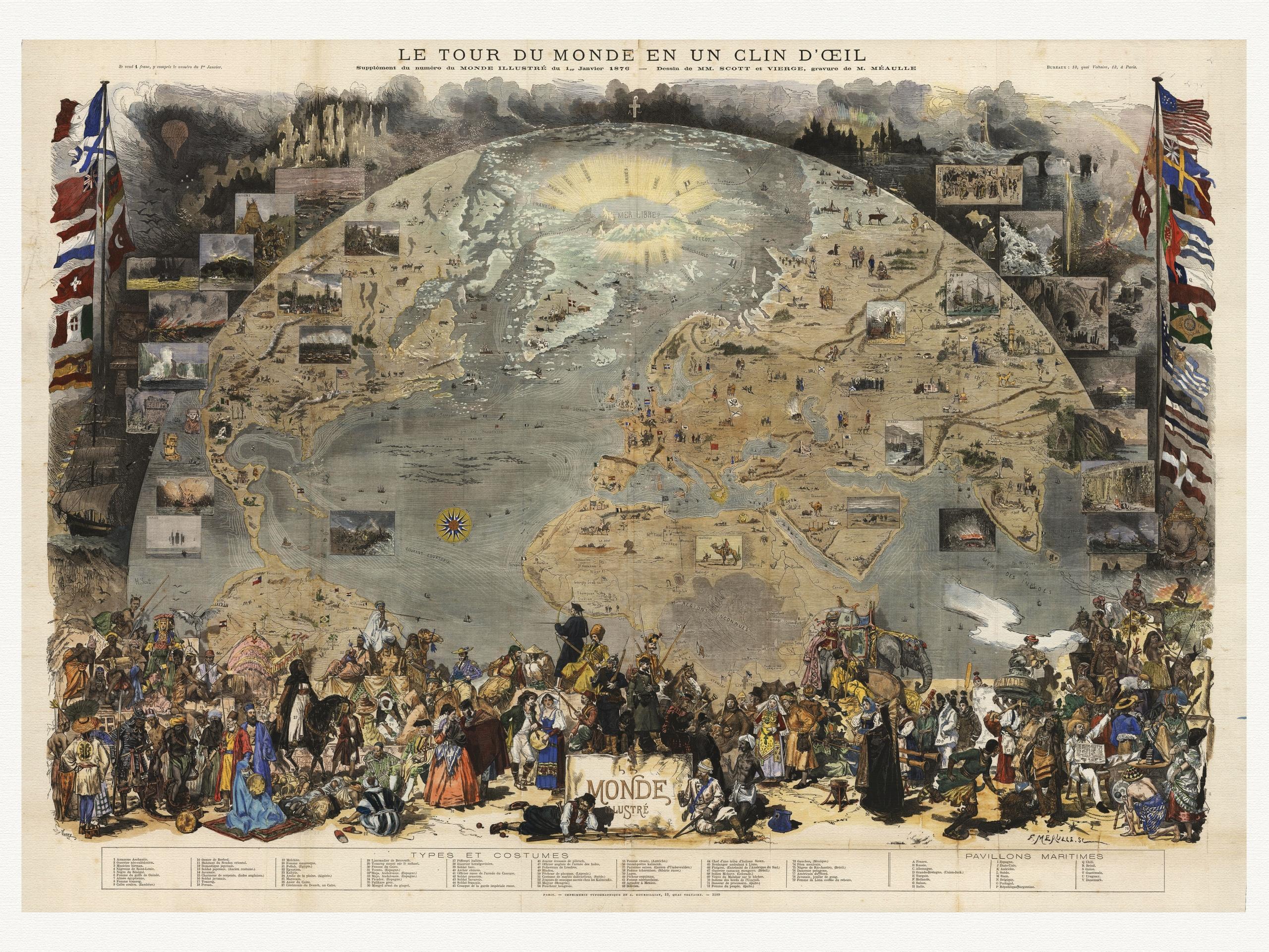 Item Map of the World, SCOTT 1876 canvas
