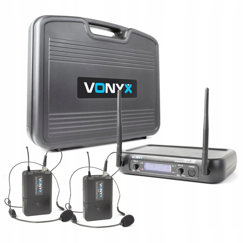 2x UHF Mikrofón Sociálny + prijímač + CASE GW.3L