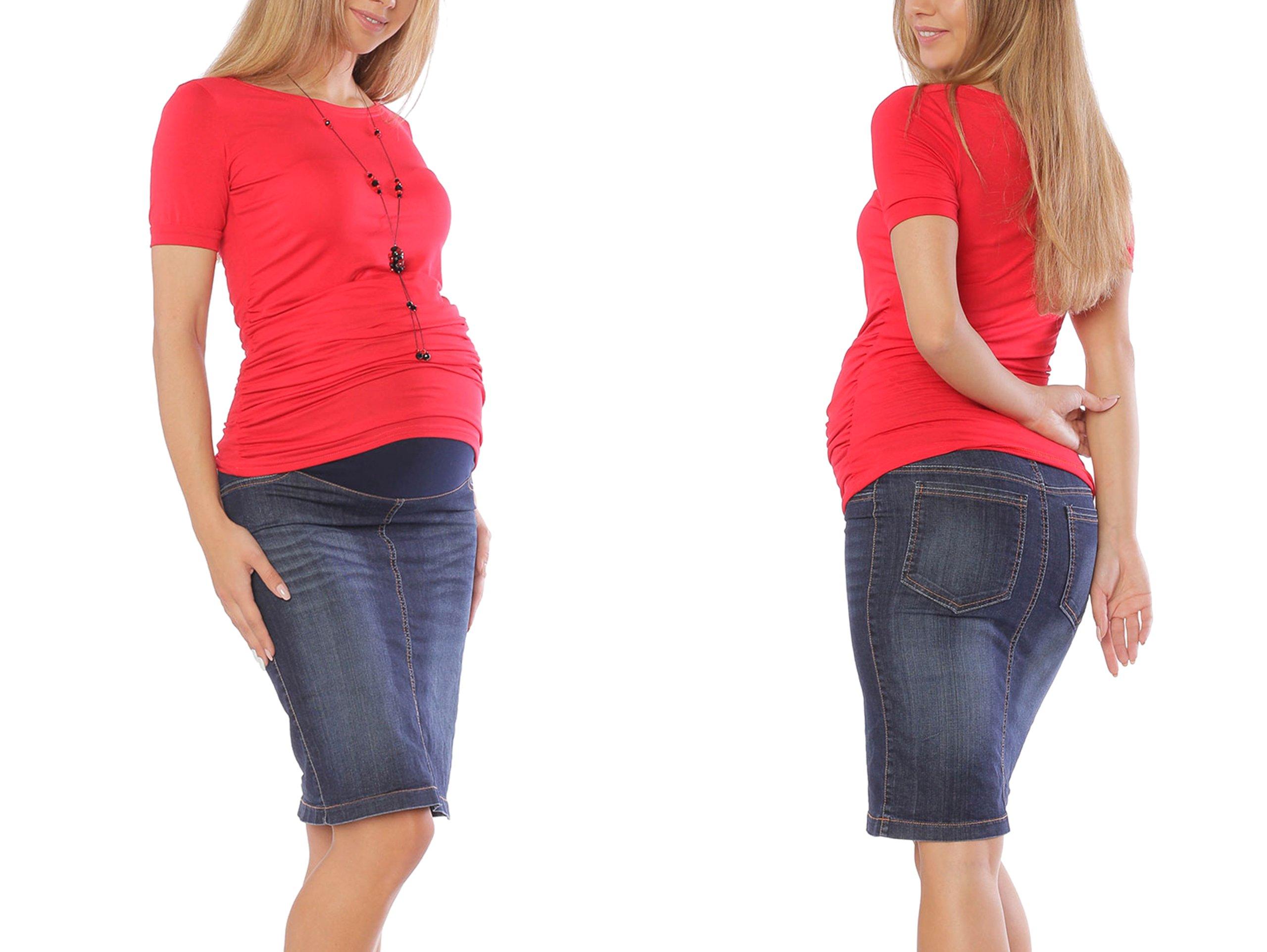 Jeansowa spódnica ciążowa z wysokim panelem