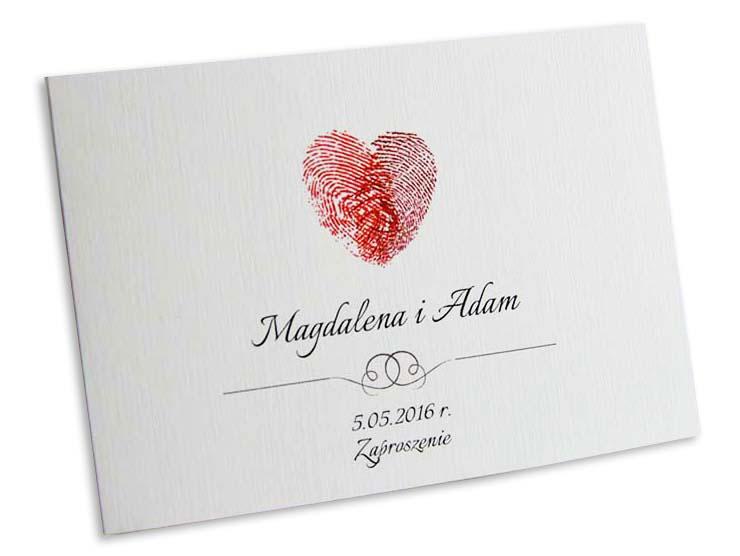Zaproszenia Ślubne/ ZAWIADOMIENIA-serca odcisk
