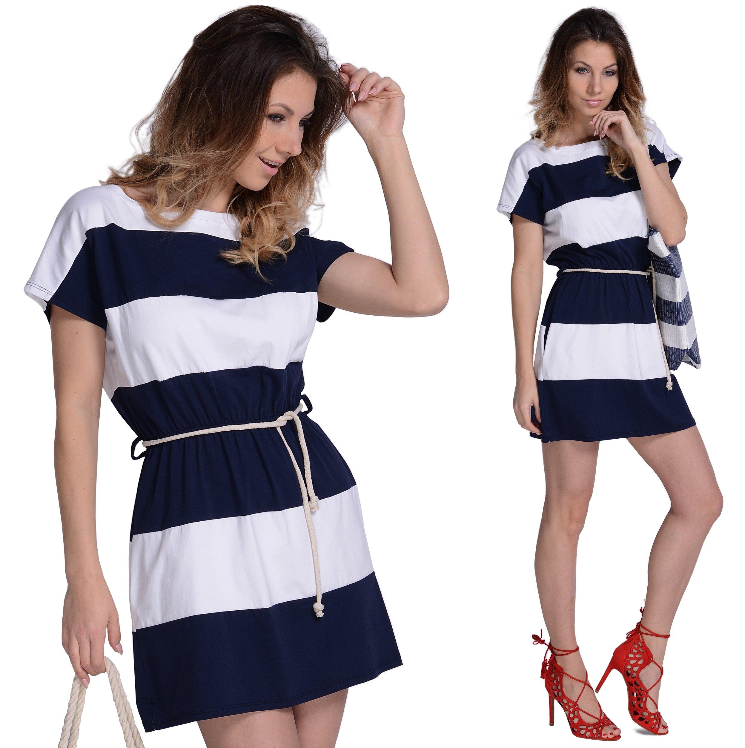 7f754388ac Letnia Sukienka w marynarskie paski HIT bawełna 6841760738 - Allegro.pl