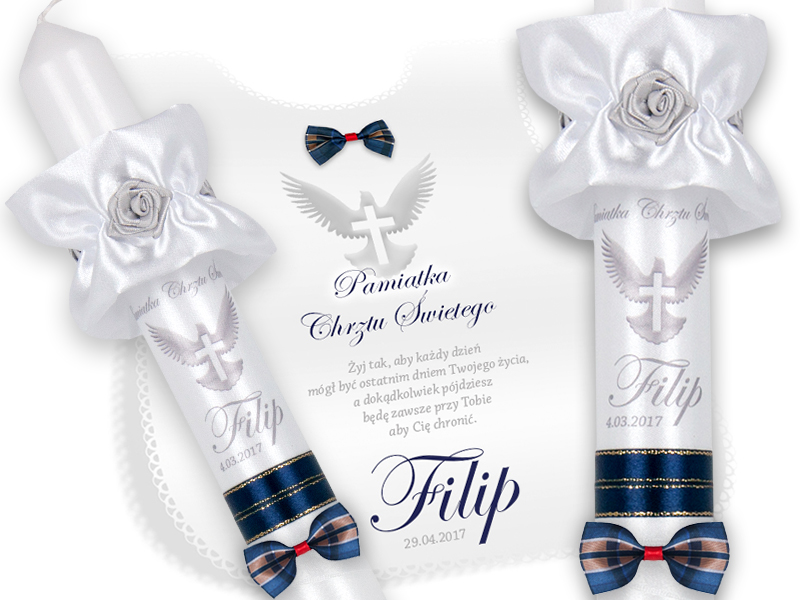 Item CANDLE AND SZATKA FOR BAPTISM ON THE BAPTISM NAME DATE