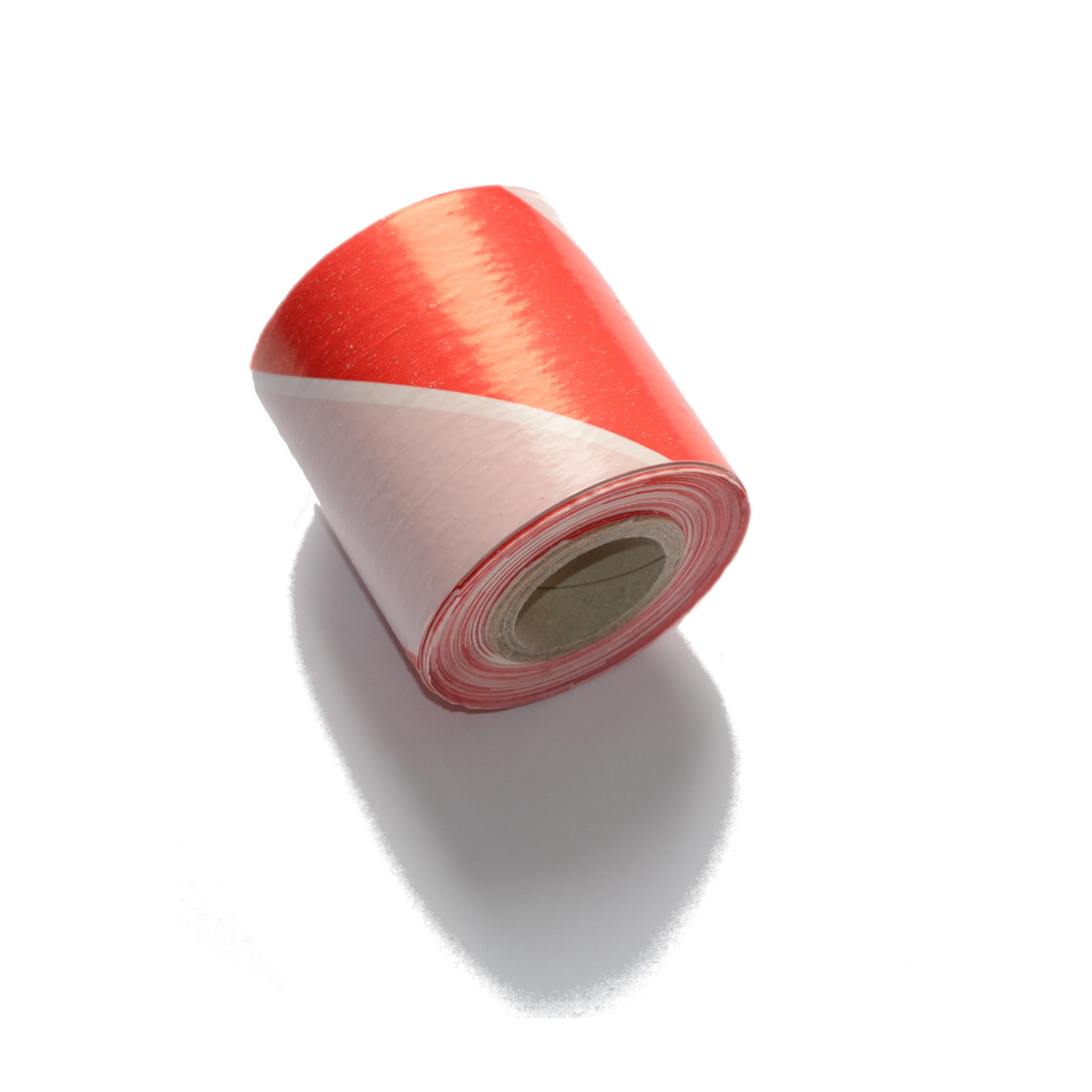 Лента оградительная бело-красная широкая 8см/100м