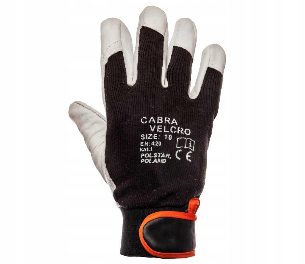 Rękawice CABRA Velcro Licowa Kozia r.10