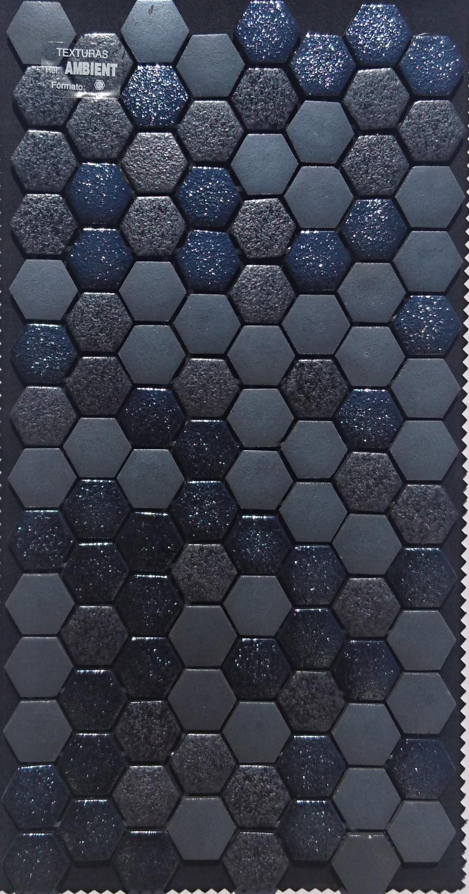 Mozaika TEXTURAS OKOLIA hexagonalna sivá, čierna
