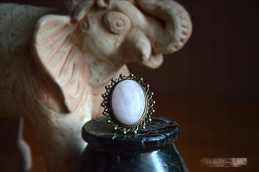 Rose quartz Krúžok veľká Kolekcia vintage
