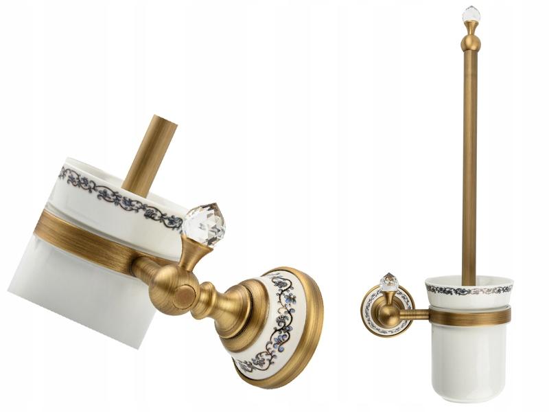 RETRO staré zlato / keramické wc kefa starožitný