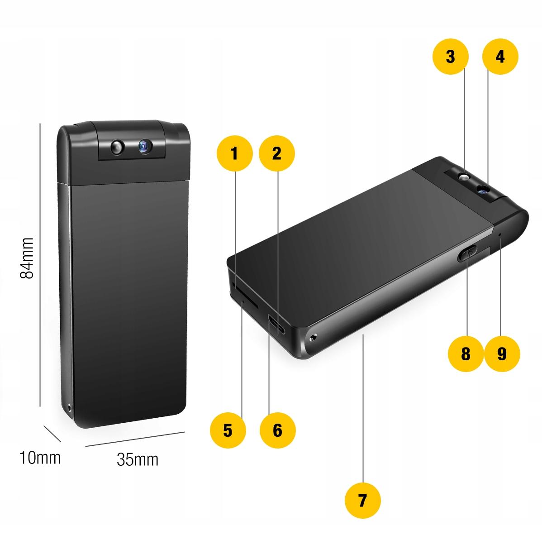 PENDRIVE MINI KAMERA USB FULL HD DYKTAFON IR LED Jakość zapisu Full HD (1920 x 1080)