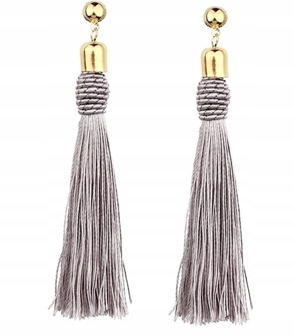 Item Earrings gray hanging long tassel chwost