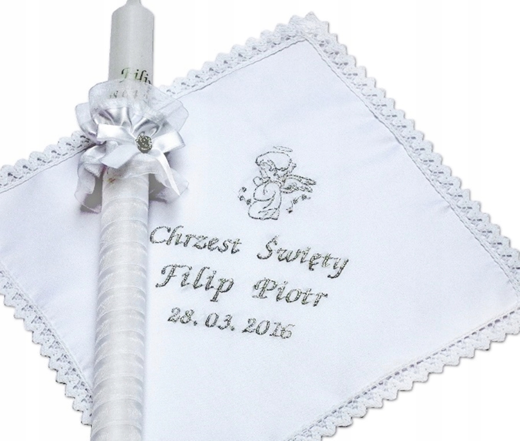 Item SZATKA and CANDLE FOR BAPTISM name date EMBROIDERY