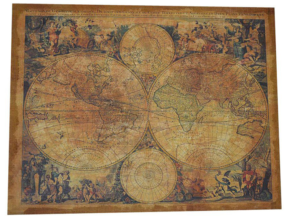 Item PICTURE of OLD WORLD MAP ON CANVAS 70x90 cm