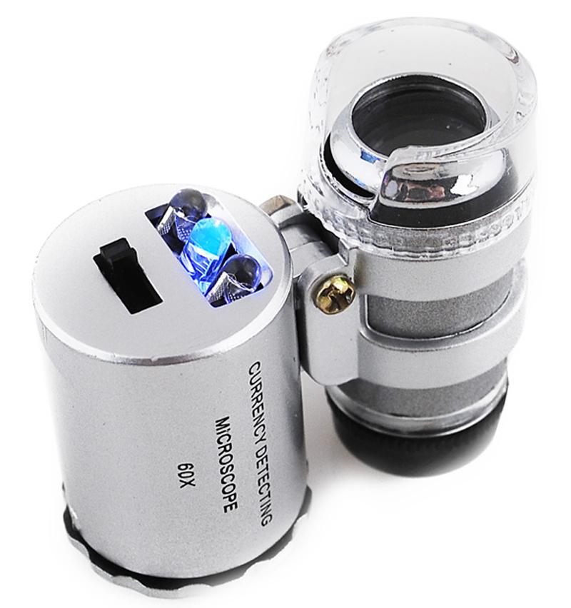Lupa Jubilerska Mikroskop Kieszonkowy 60x LED + UV