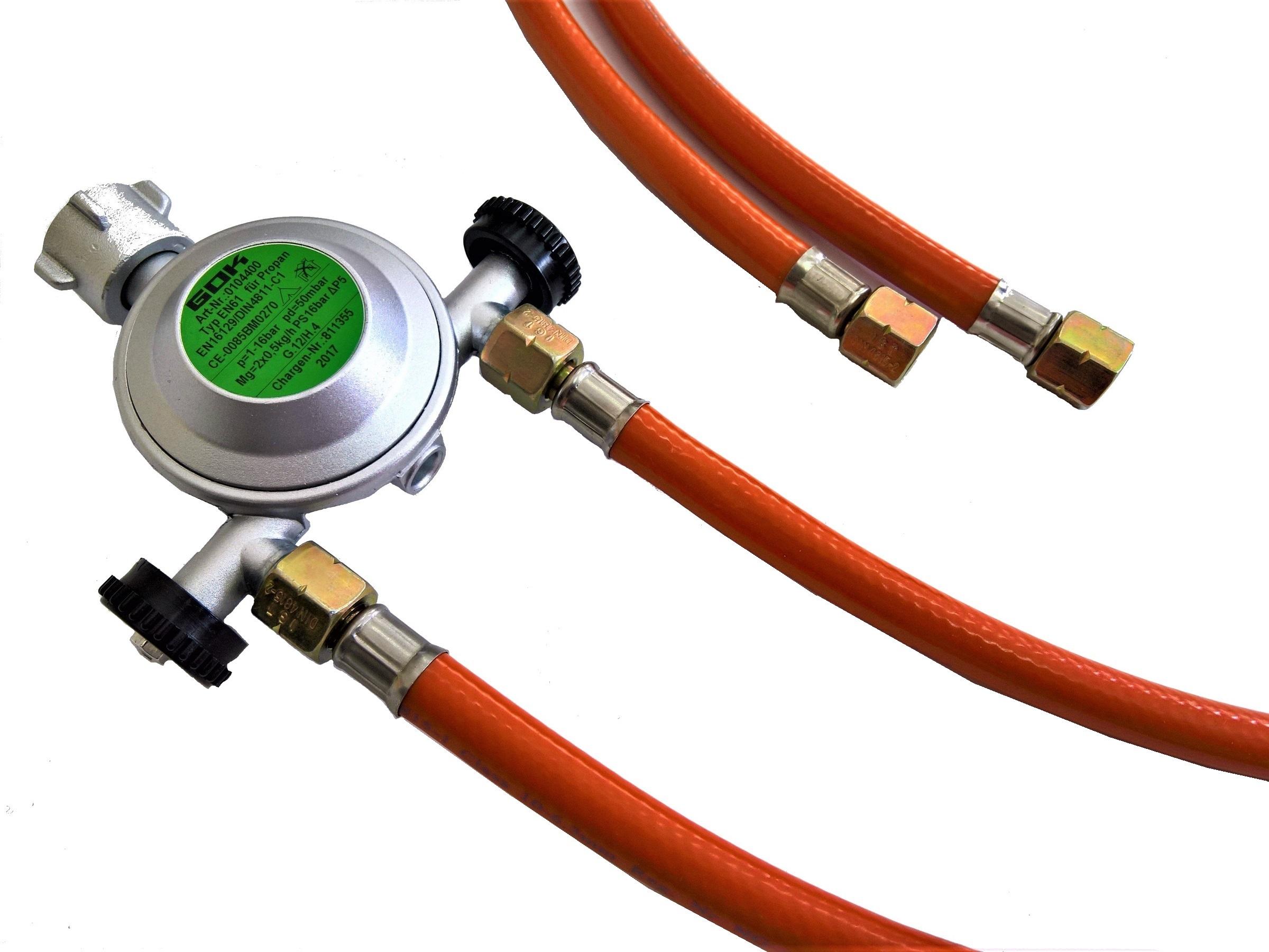 Redukčný ventil plynu GOK 50 mbar + DVA DRÔTY 150 cm