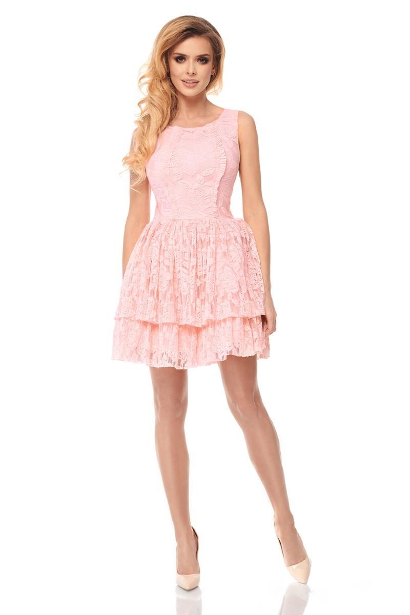 0bc2acc010 Sukienka z plisowanej koronki LILA - pudrowy róż M - 7283888602 ...