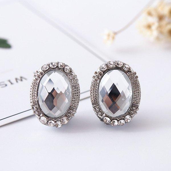 Klipsy cyrkonie kryształ srebrne