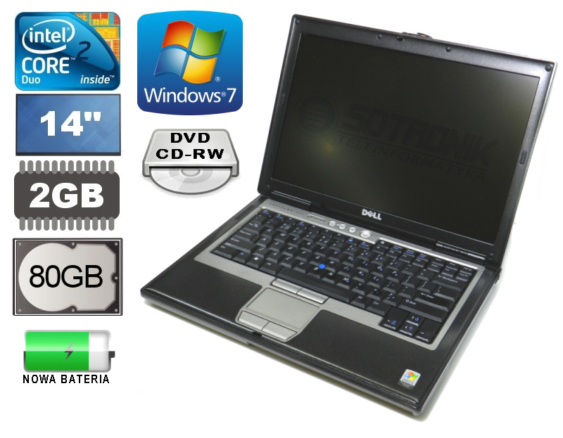 DELL LATITUDE D620 CD 1.66GHz 80GB DVD-CDRW Win7