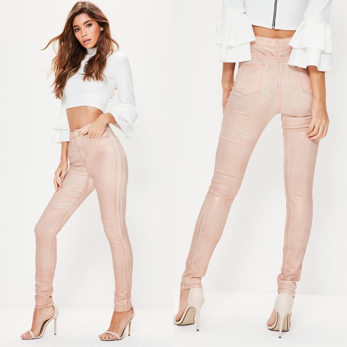 bb9e4ee302aef spodnie pudrowy róż metaliczne rurki missguided - 7346918540 ...