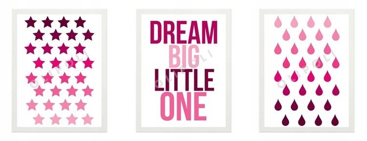 3 Obrazki Plakaty Dla Dziecka Ramka Ikea Dream Big
