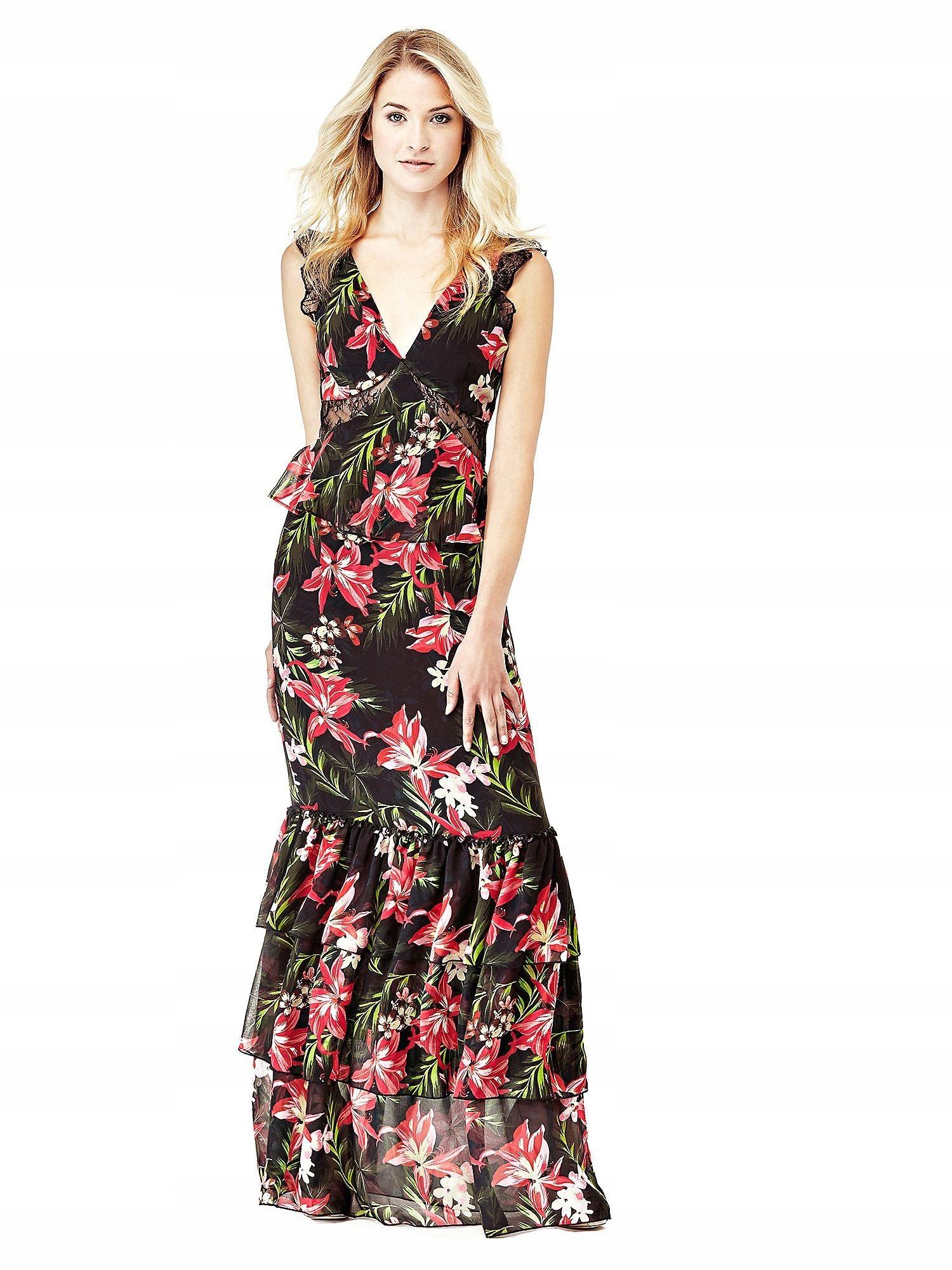 726457f2c3 GUESS Czarna szyfonowa sukienka maxi kwiaty (S) - 7650347598 ...