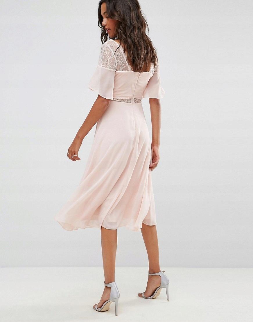 bd21dd21709cc Beżowa nude sukienka koronkowe wstawki midi 42 XL - 7587692599 ...
