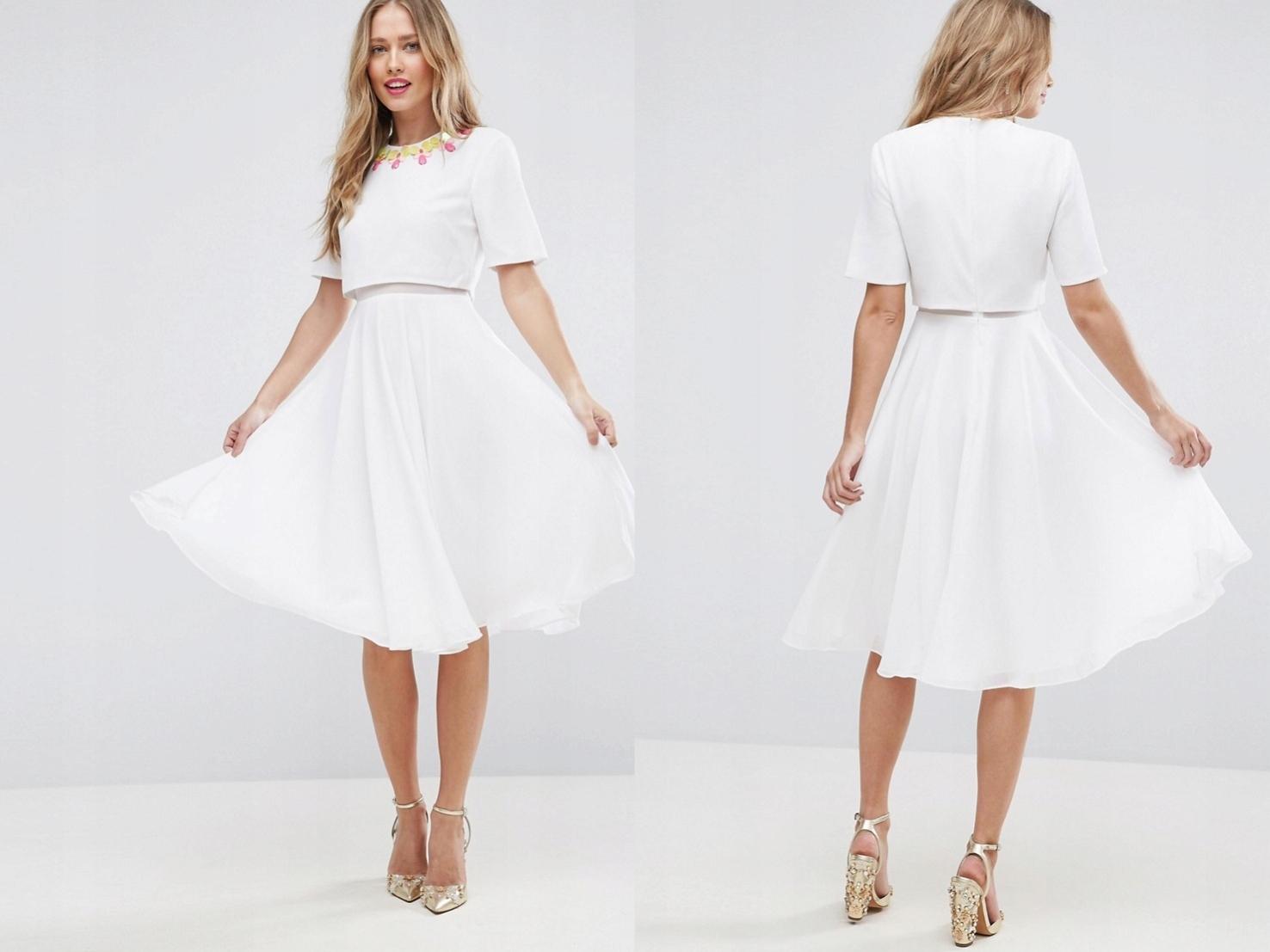 ab88e2e5c9 Biała Sukienka Rozkloszowana Krótki Rękaw L 40 - 7479603303 ...
