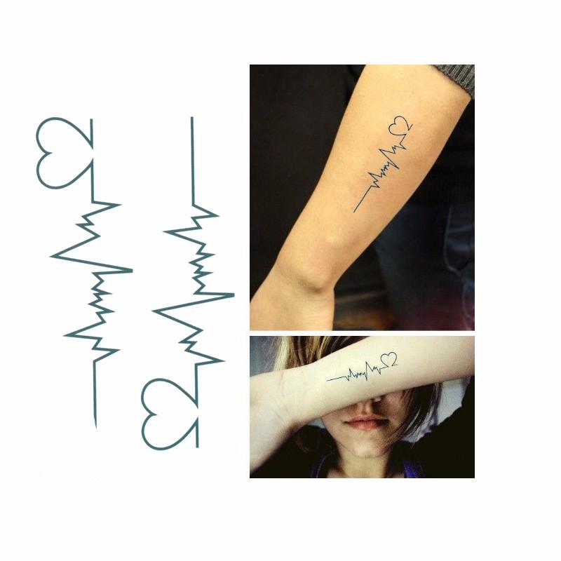 Tattoo Tatuaż Tymczasowy Zmywalny Ekg Serce 6929888475