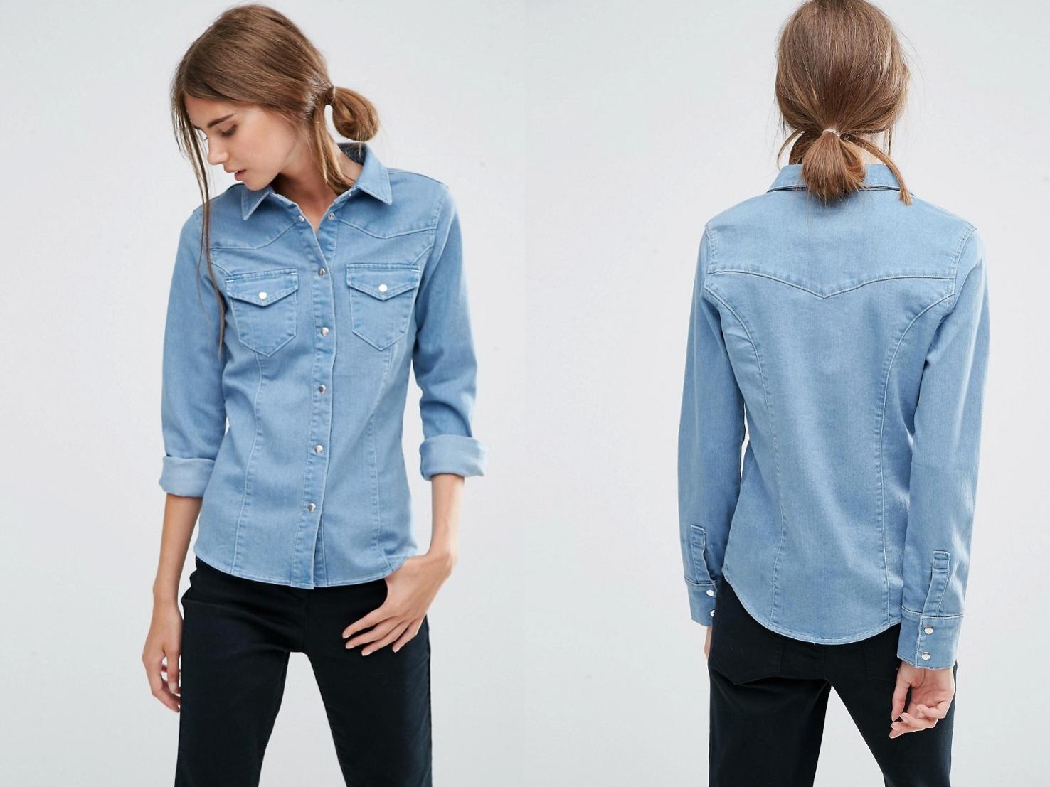 616ed8cf095989 jeansowa damska koszula z kieszeniami XL/42 - 7301383333 - oficjalne ...